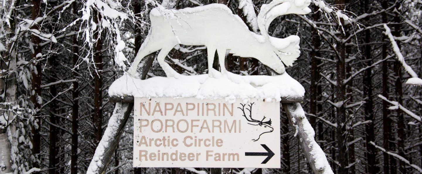 Sign for Konttaniemi Reindeer Farm on the Arctic Circle in Finland