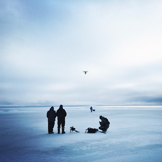 local film crew operates drones over the snow in Lapland
