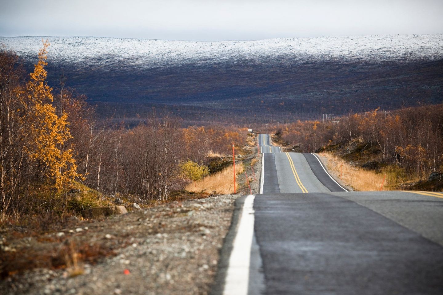 a lonely stretch of Lapland highway