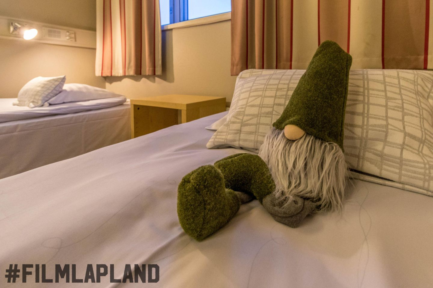 A sleeping elf at Hostel Rudolf in Rovaniemi, Finland