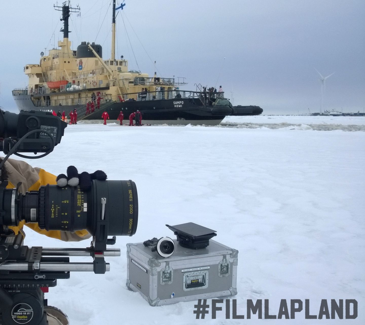 Filming a ship on the ice