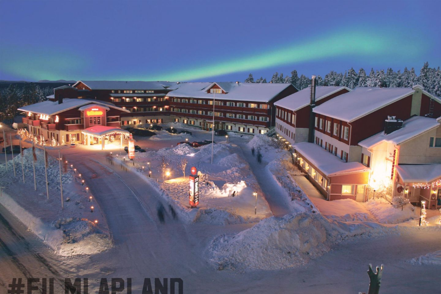Northern Lights over Hullu Poro in Levi in Lapland