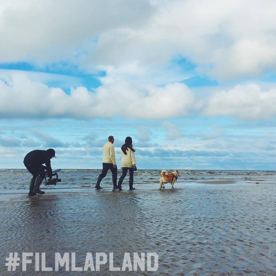 filming on the shore in Lapland