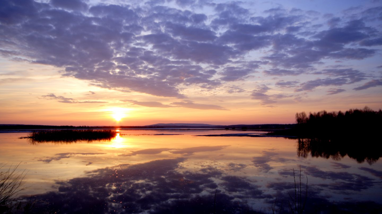Midnight sun in Lapland, Finland.