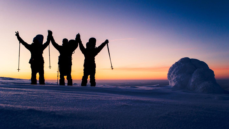snow surfers in Lapland