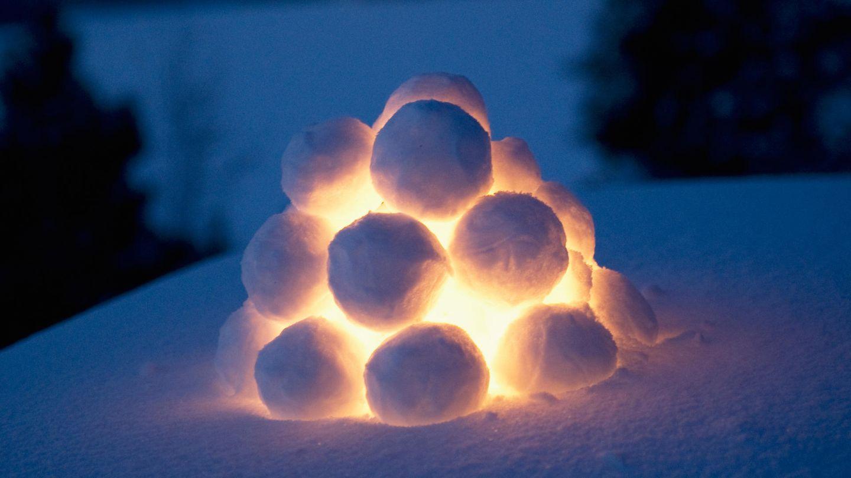 snow lantern on dark evening in Lapland