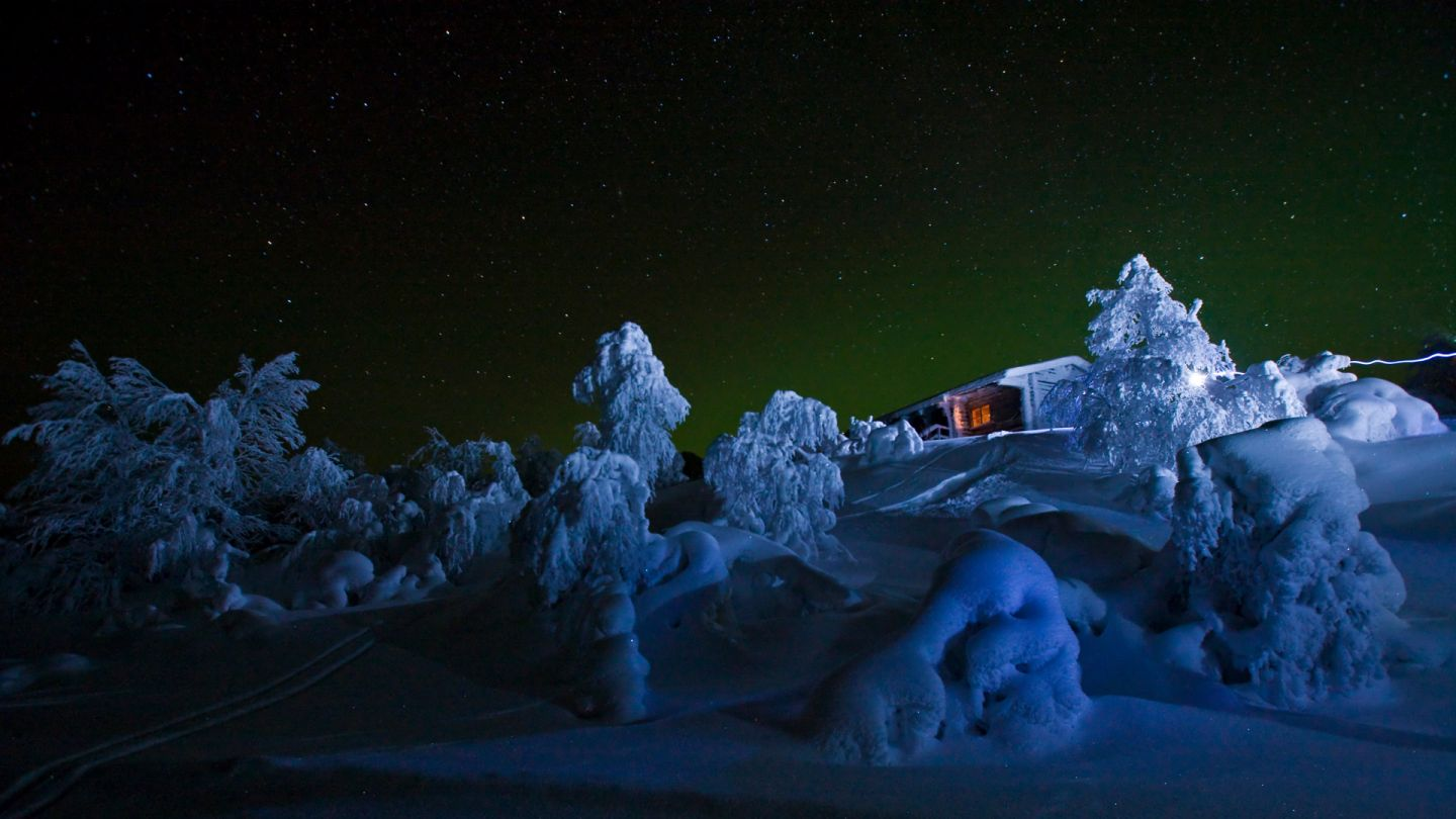 Accommodation in Lapland in the darkness of the night