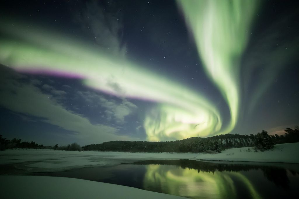 reflected auroras in Lapland