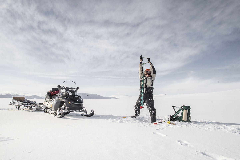 Ice fishing in the tundra