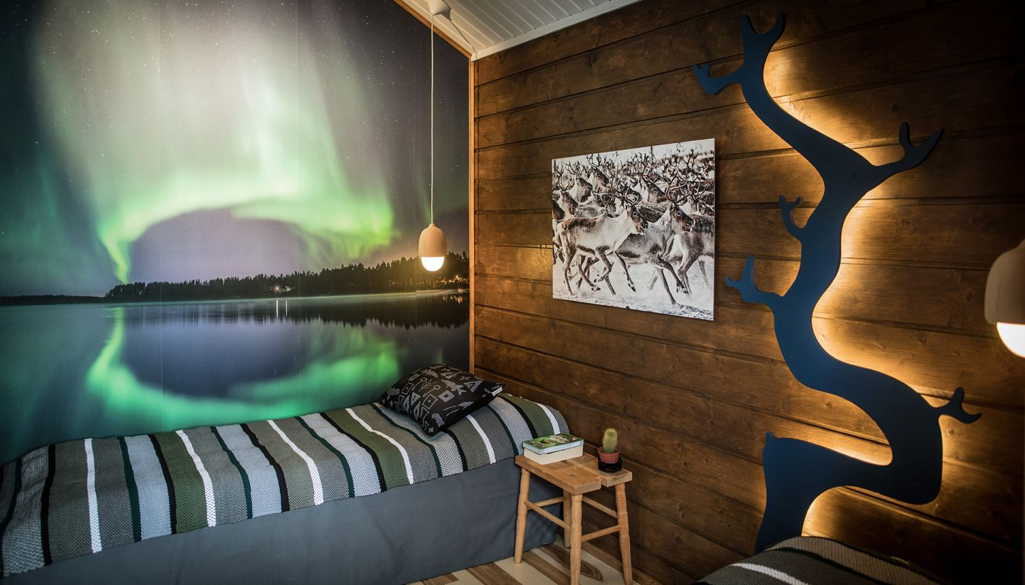 Northern Lights view from Inside luxury chalet at Tundrea