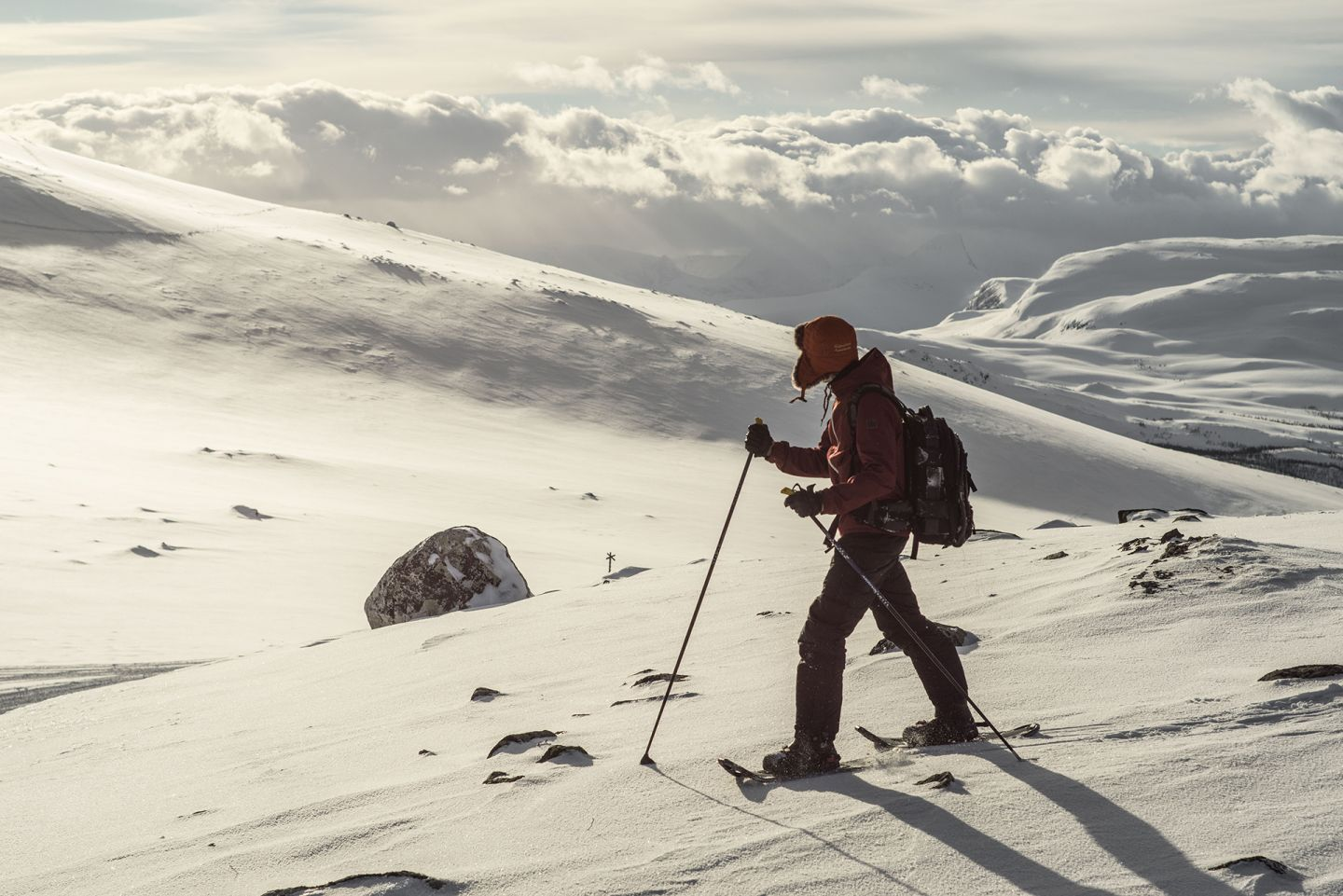 Snowshoeing across the tundra
