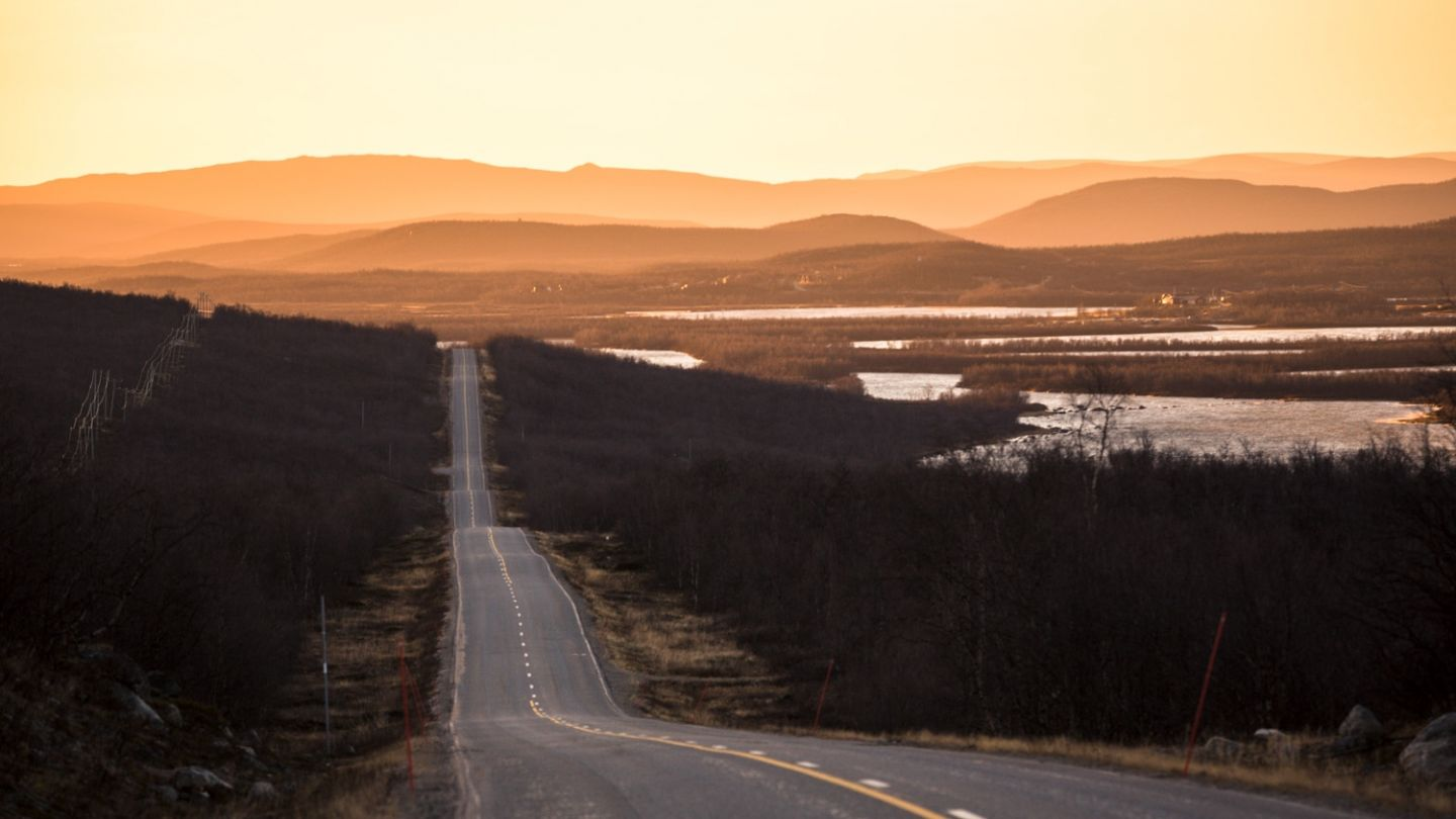 A highway leads to the Lapland fells