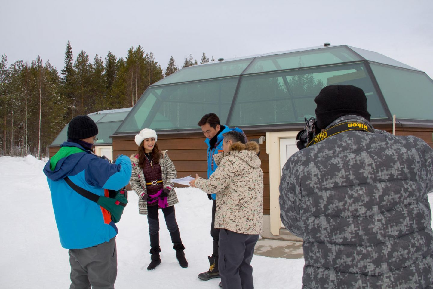 Outside an aurora igloo on location in Lapland with Joe Ma