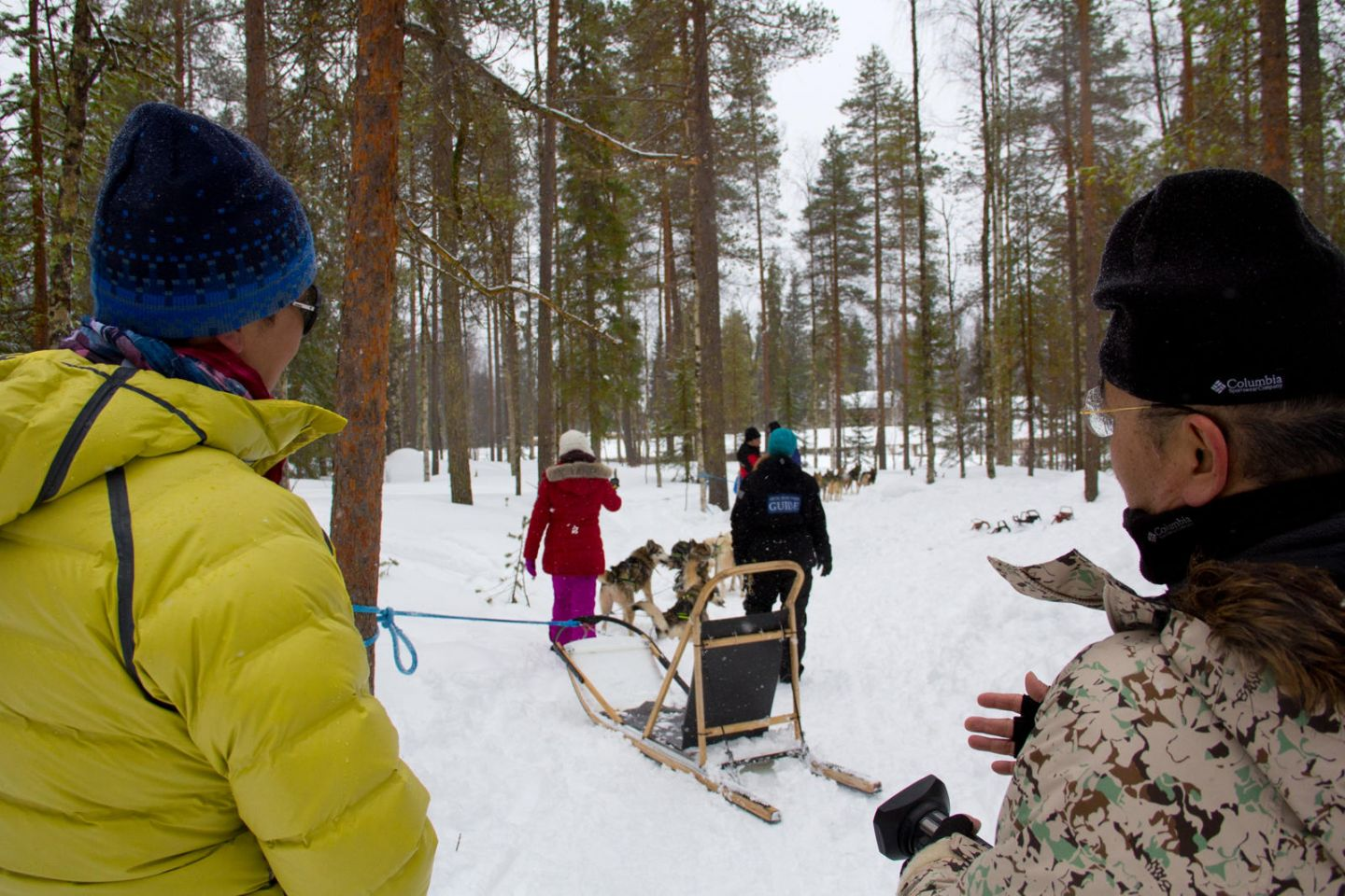 Husky ride through the forest on location in Lapland with Joe Ma