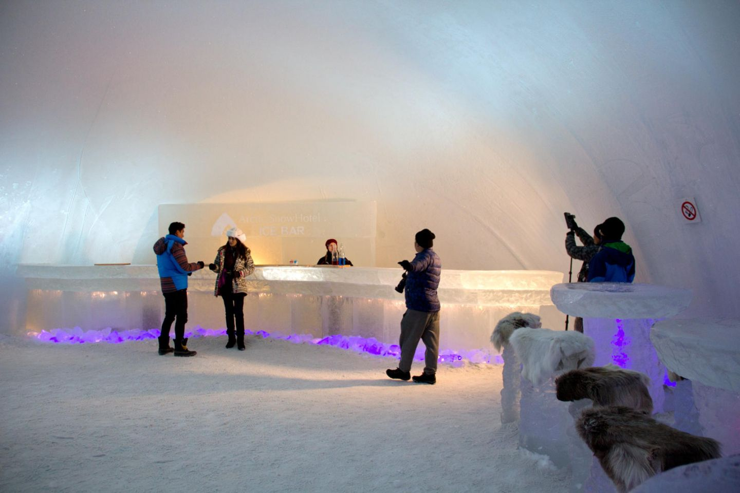 Cast at the ice bar on location in Lapland with Joe Ma