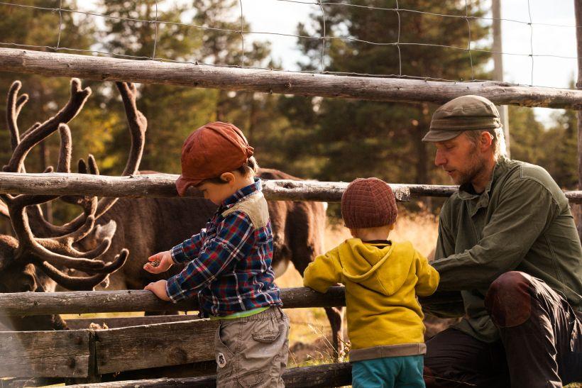 Children feeding the reindeer in Lapland
