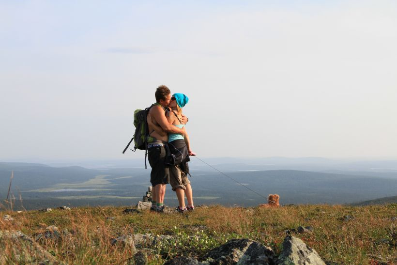 Love is in the air during the hiking in Lapland