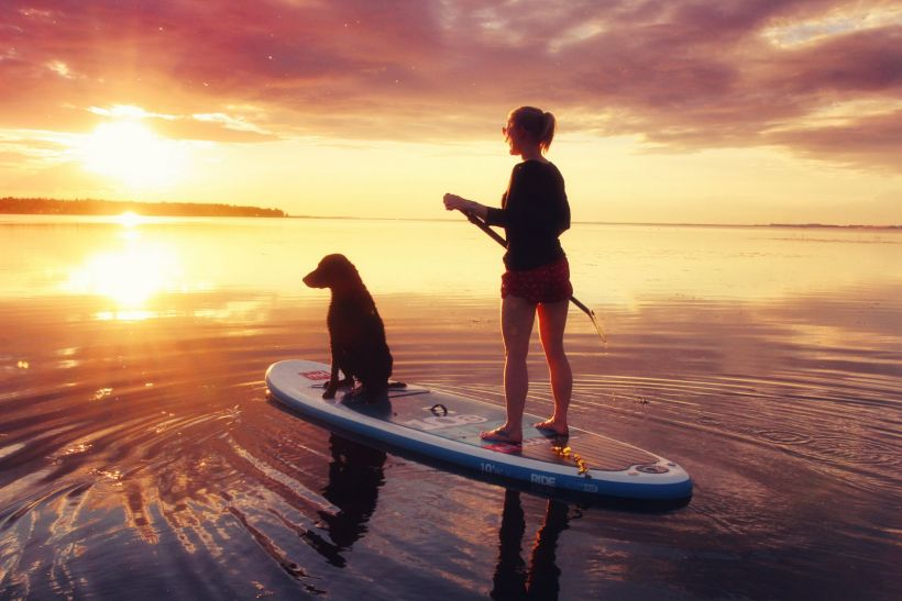 A woman supping with a dog in Lapland's summer