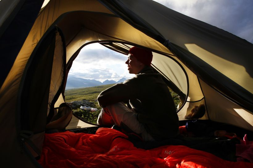Enjoying Lapland's scenery in a tent