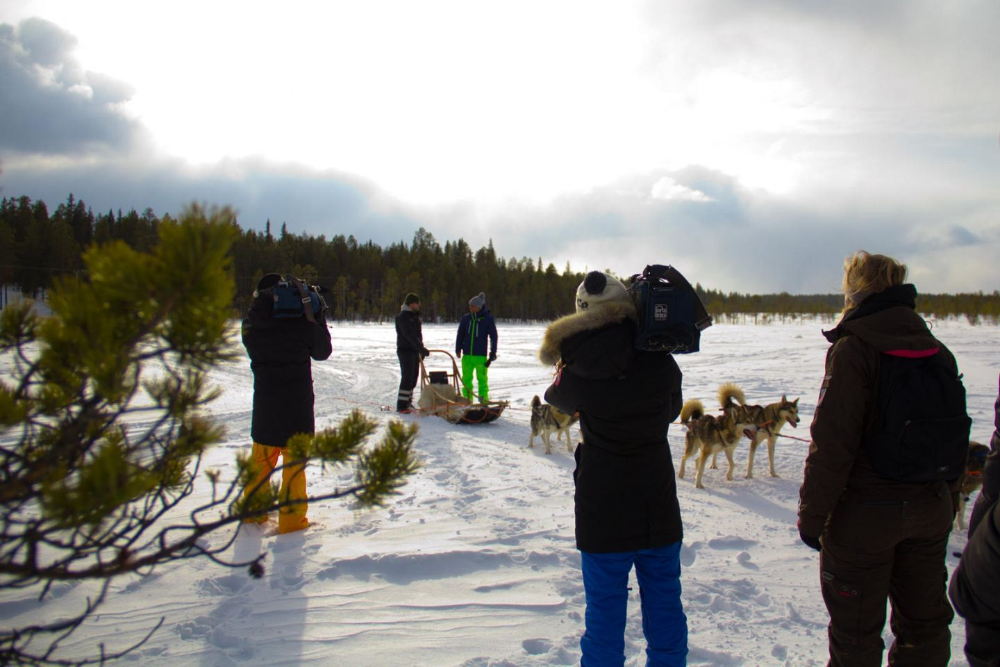 Filming husky ride in Lapland for French travel tv show