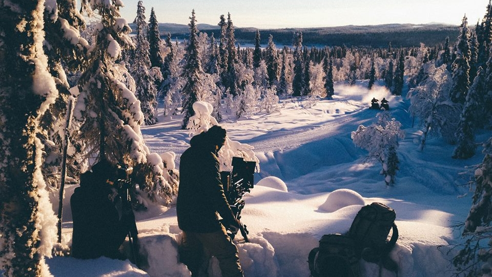 Film crew & snowmobiles from Flatlight Creative House in Lapland