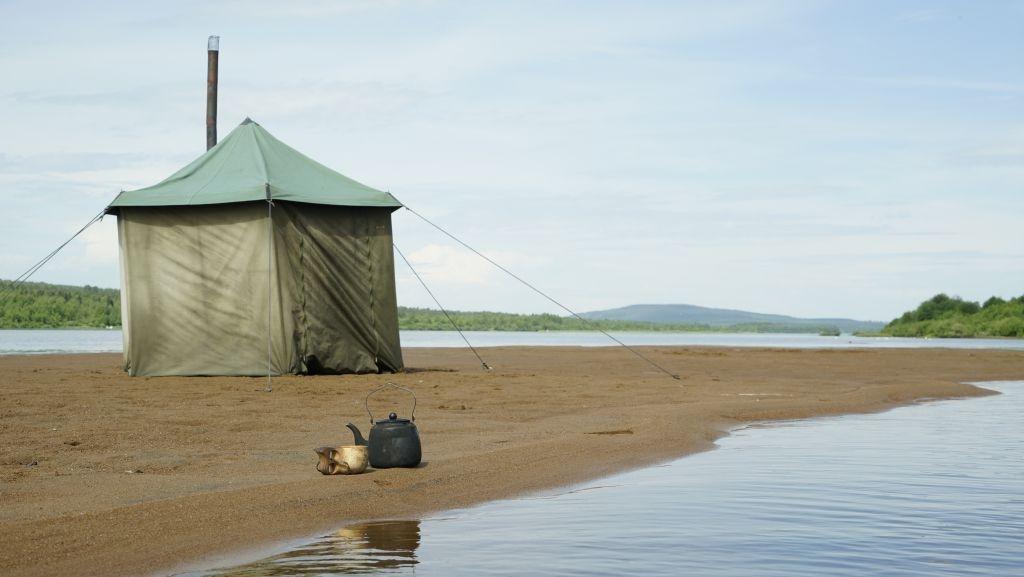 Sauna in a tent in Lapland