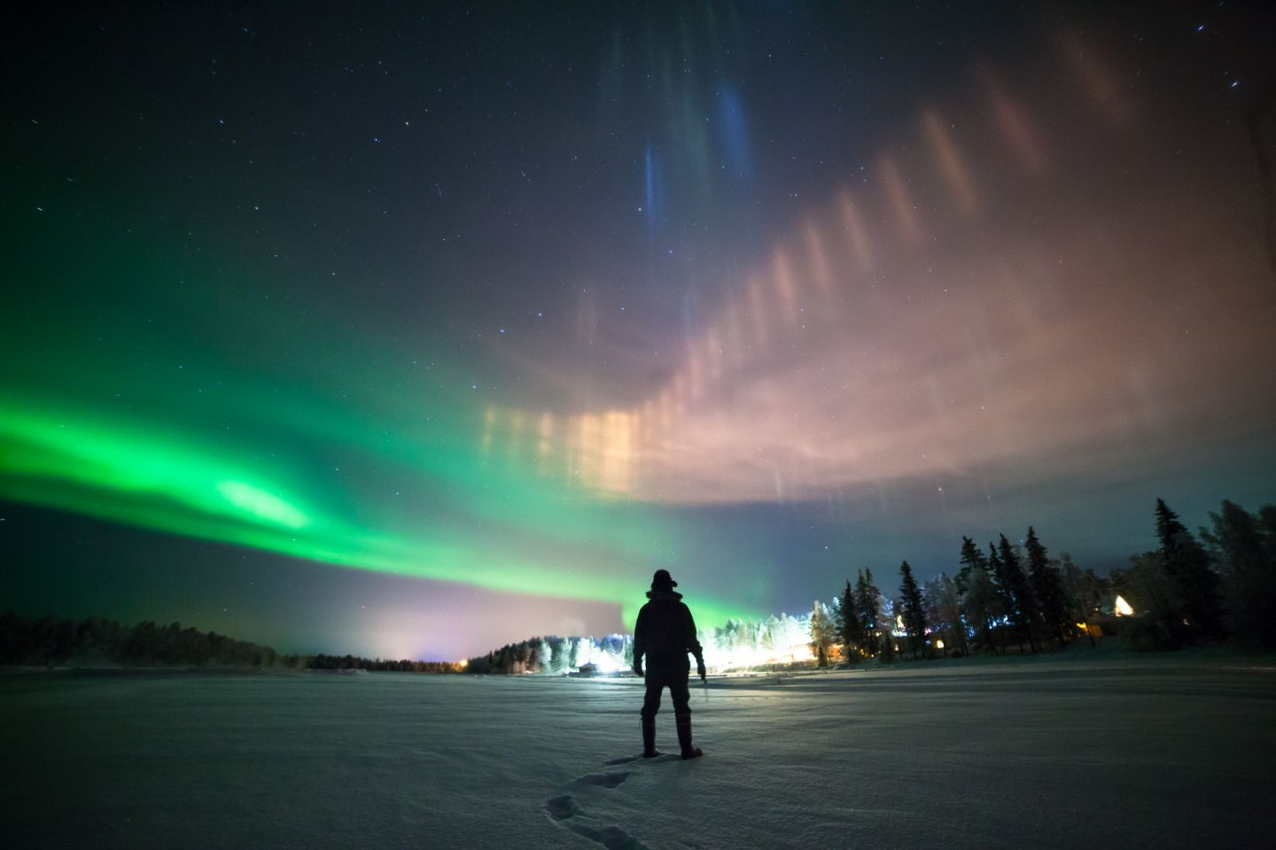Northern Lights in the sky over Finnish Lapland