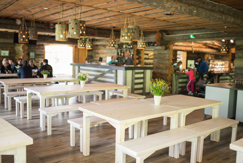 Inside the log cabin restaurant Keloravintola in Salla, Finland