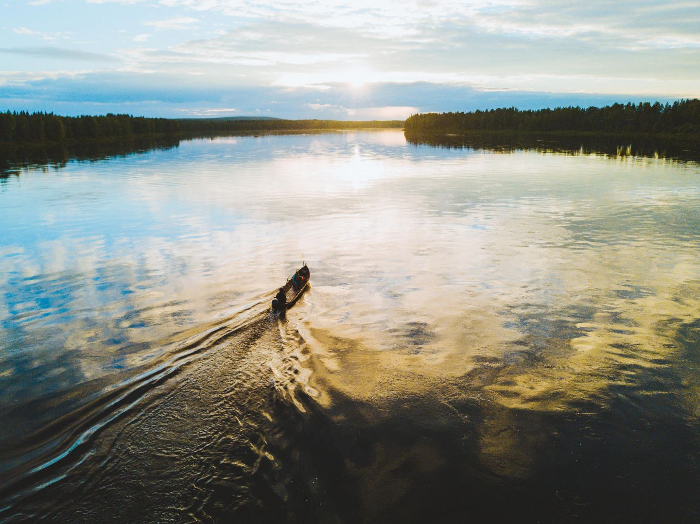 Aerial of fishing rowboat in Pello, Finland in summer