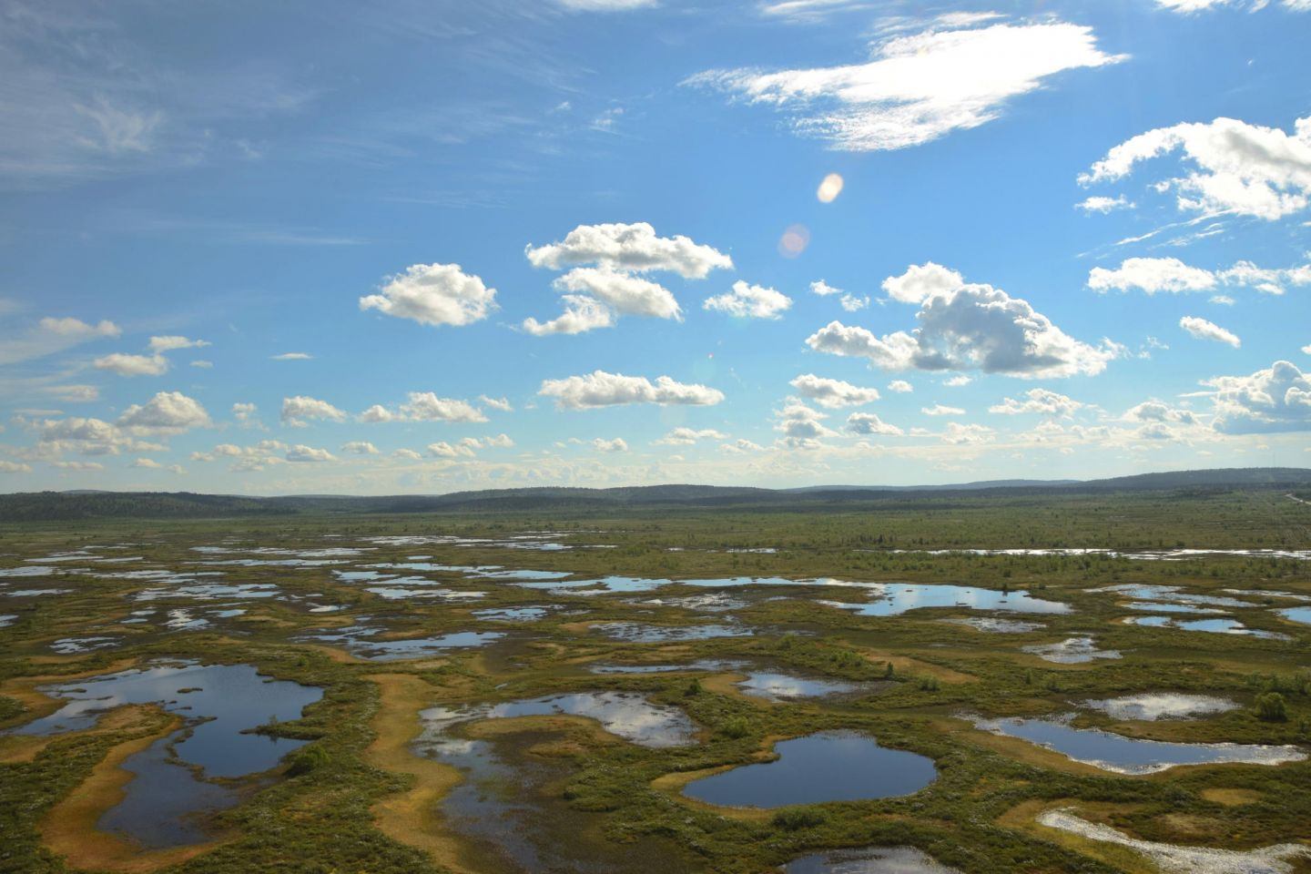 Aerial of Lapland waters and bogs