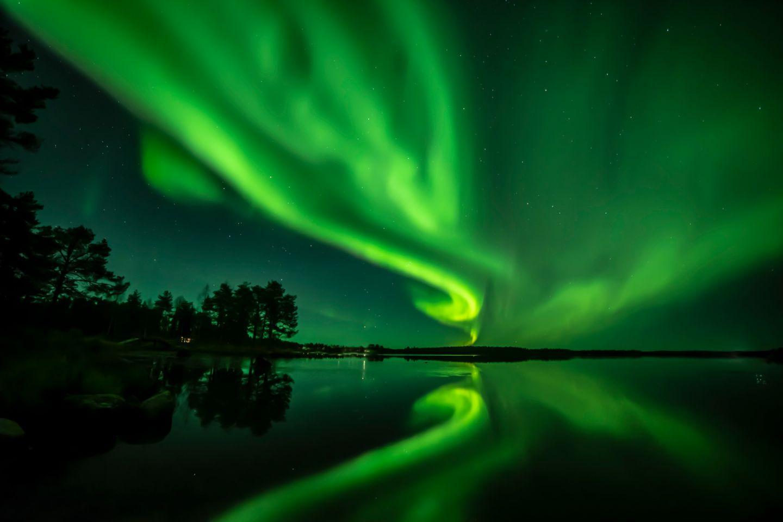 Northern lights over Lake Ranuanjärvi in Ranua, Lapland, Finland