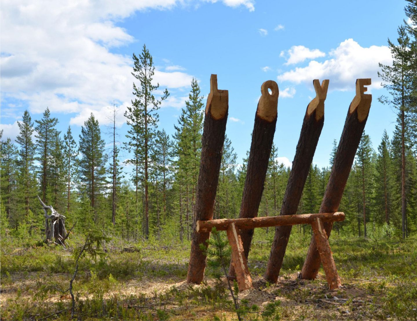 Love sculpture in Lapland