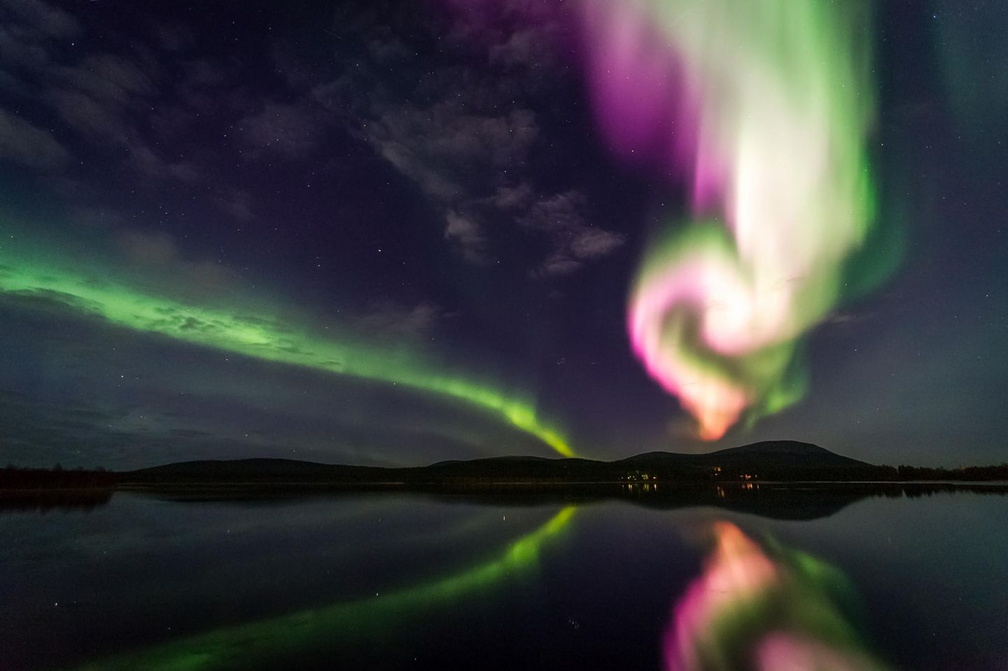 Reflected northern lights in Lapland