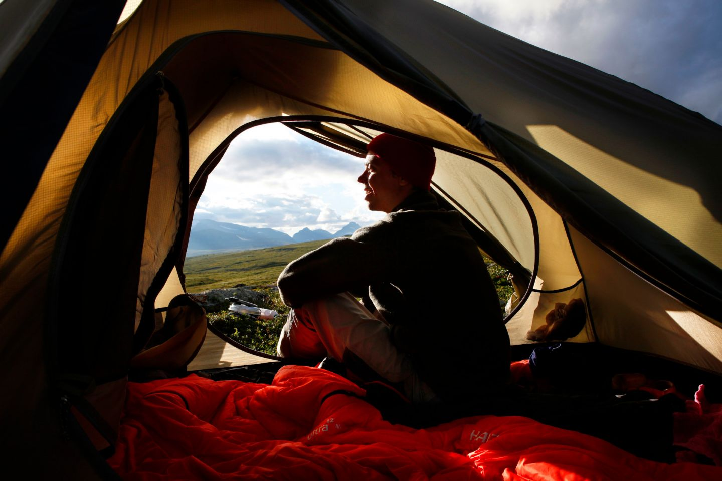 Camping in a tent in Finnish Lapland