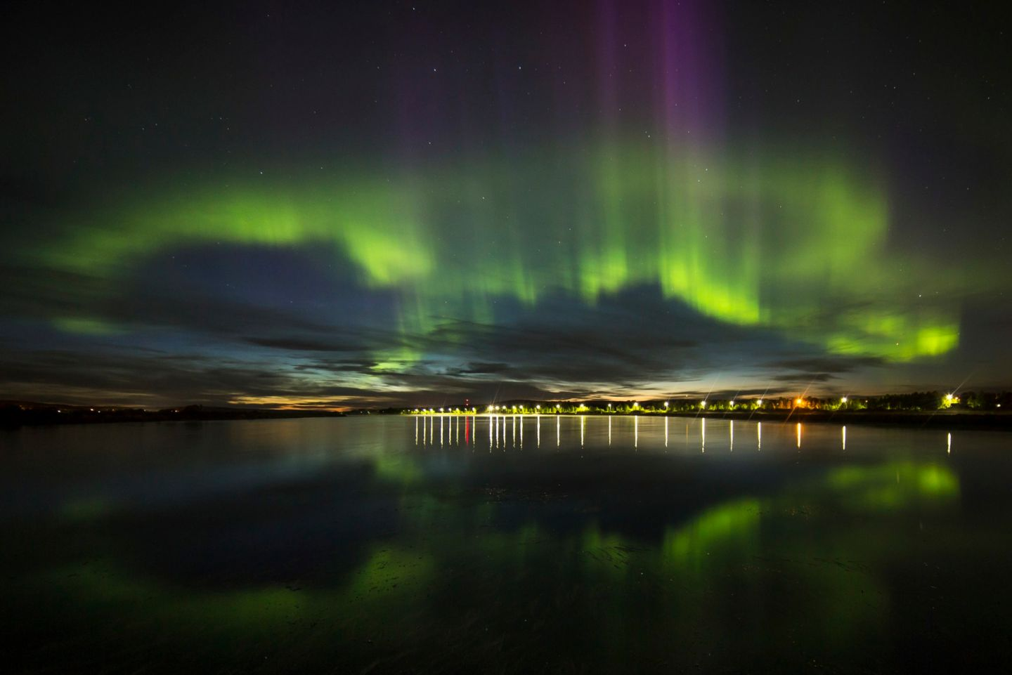 Northern Lights reflections from Rovaniemi, Finland