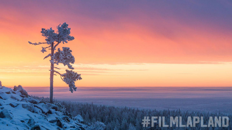 Arctic landscape in winter during Polar Night
