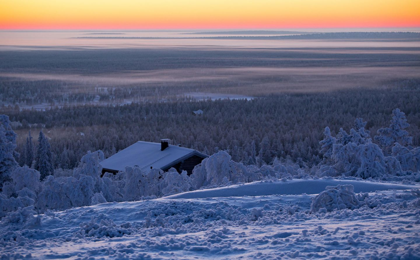 Lapland landscape in winter during a Polar Night