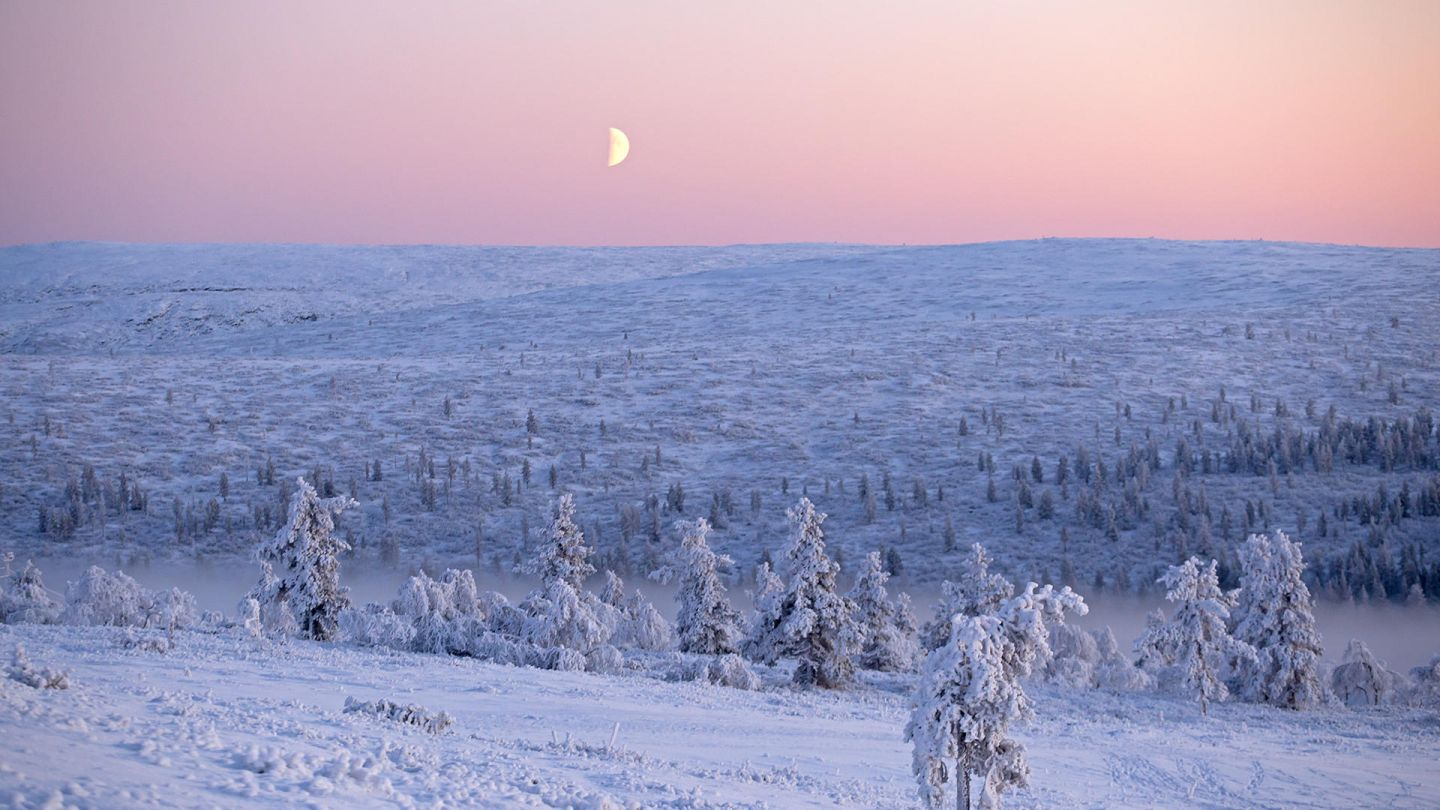 a sliver of moon during polar night in the Arctic