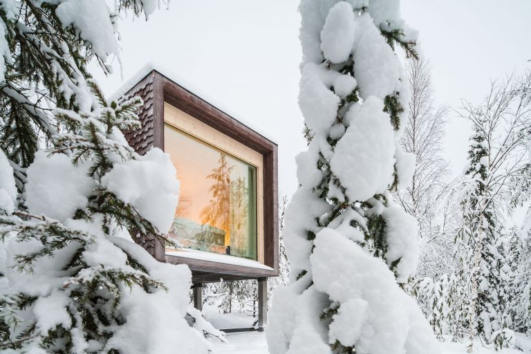 Award-winning Arctic TreeHouse Hotel during winter in Finland