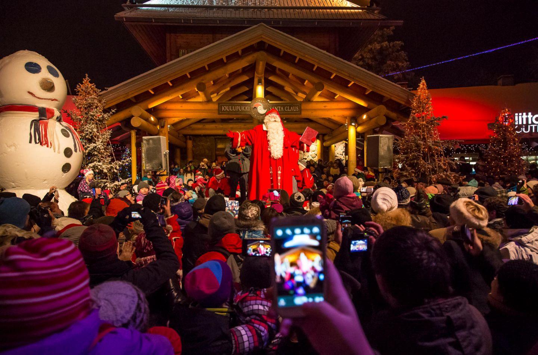 Santa Claus at Christmas season opening in Rovaniemi Lapland