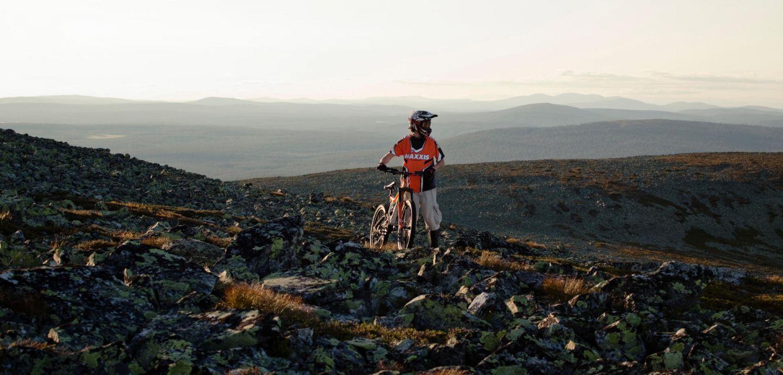 mountain biking on Ylläs fell in Finland in summer