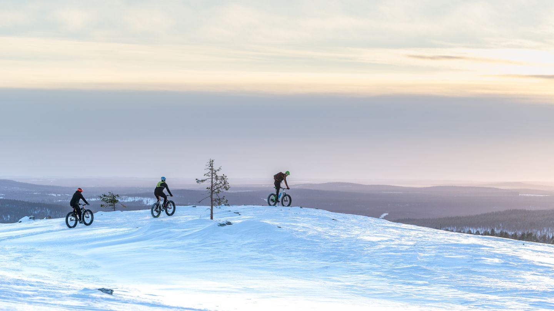 Winter biking in Lapland