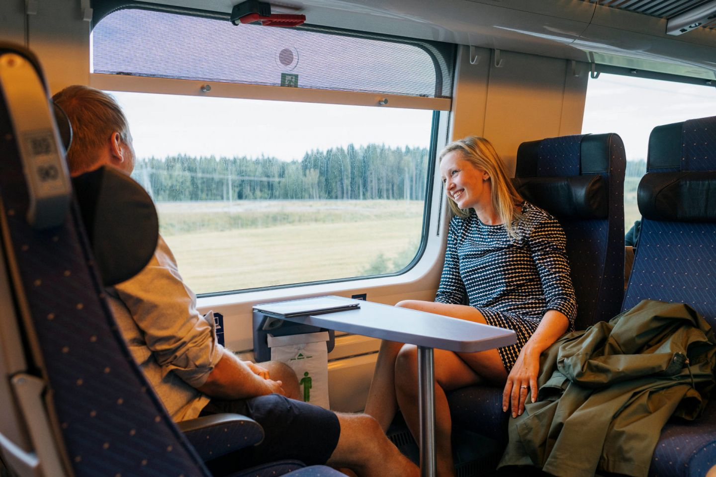 Enjoying the train ride to Lapland, Finland