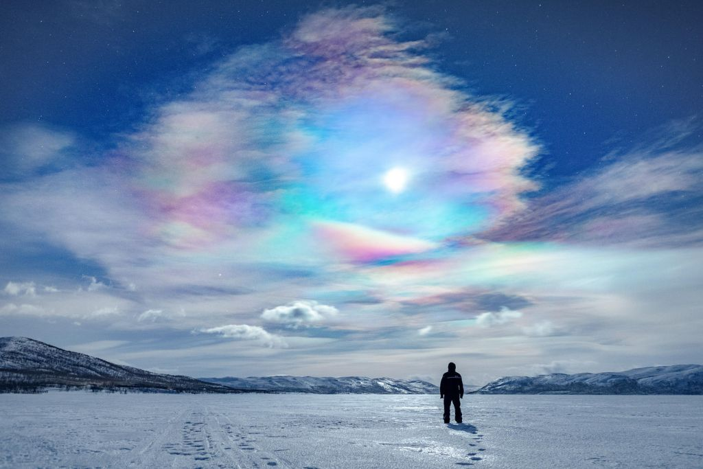 colors in the sky in Lapland in winter