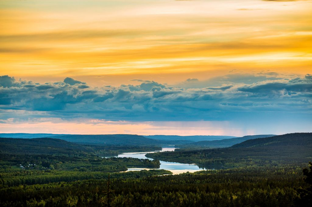 Epic Arctic sunset during summer in Lapland