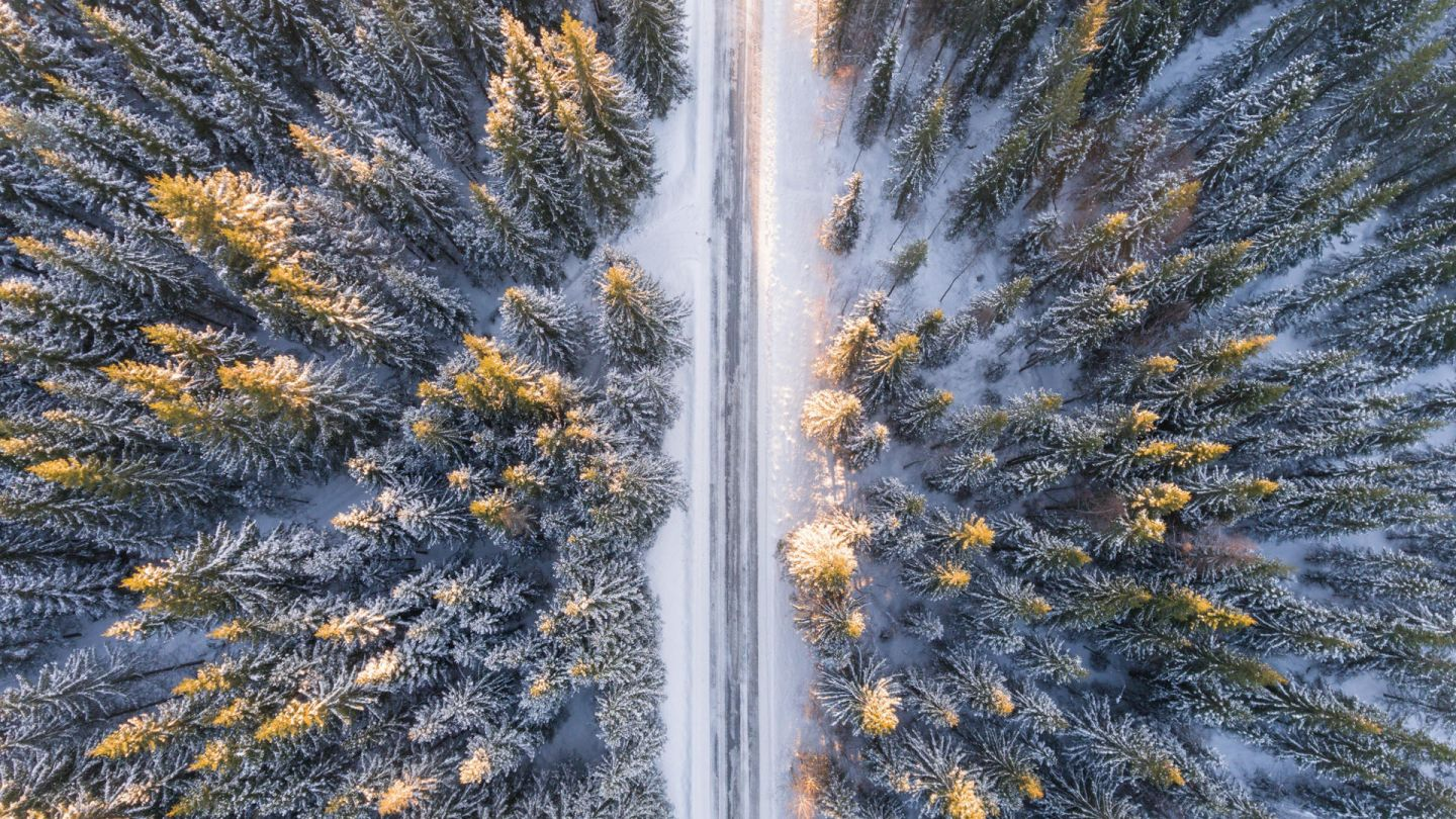 aerial view of snowy road through forest