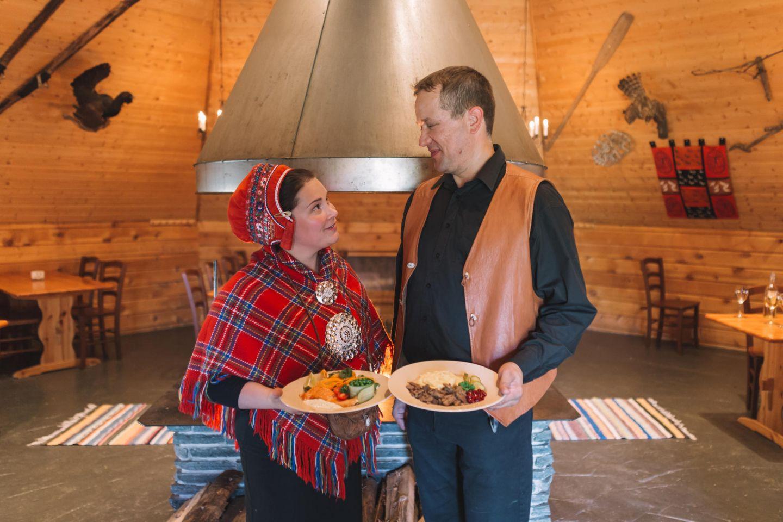Couple at the Jaakkola sami reindeer farm