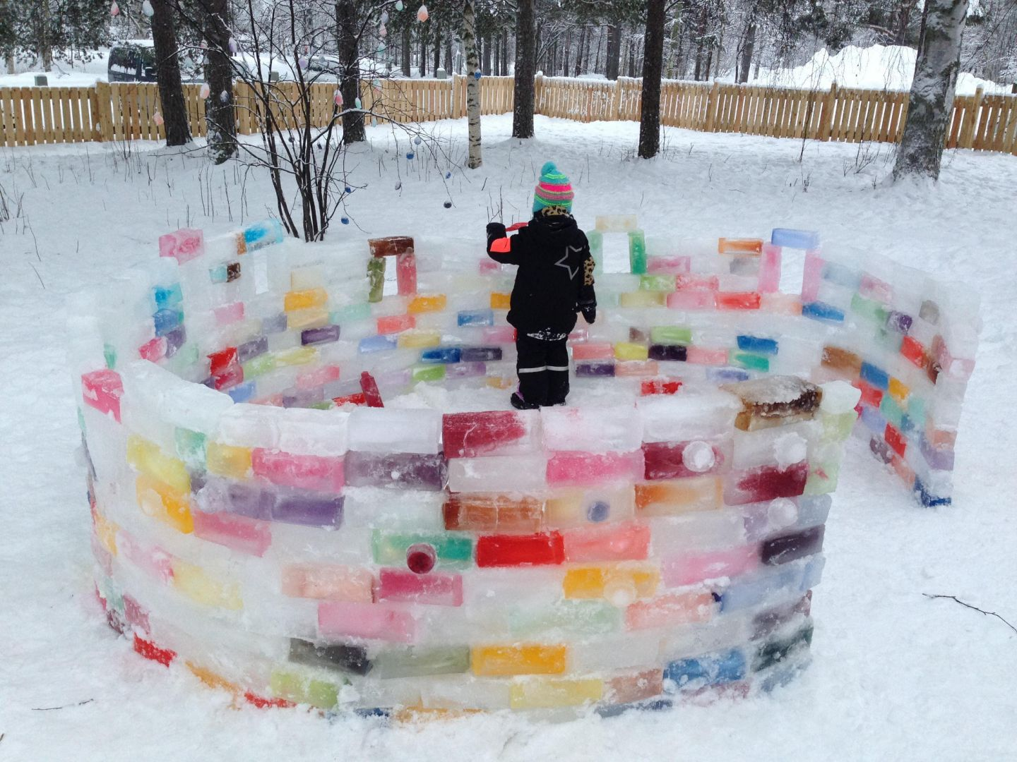 Color igloo made from colored ice in Finland
