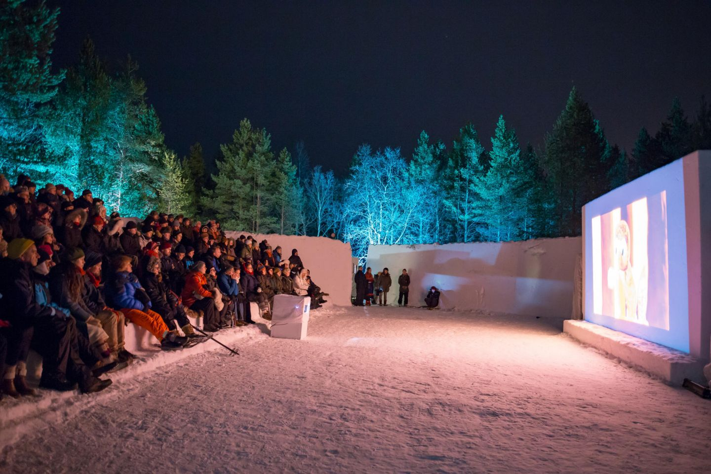 ice screen in Inari during film festival