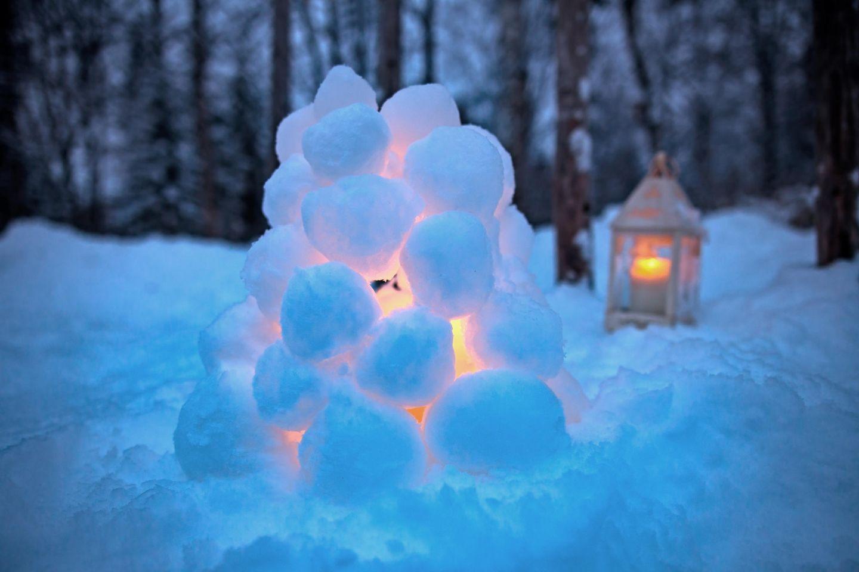 Snow lantern in winter in Lapland